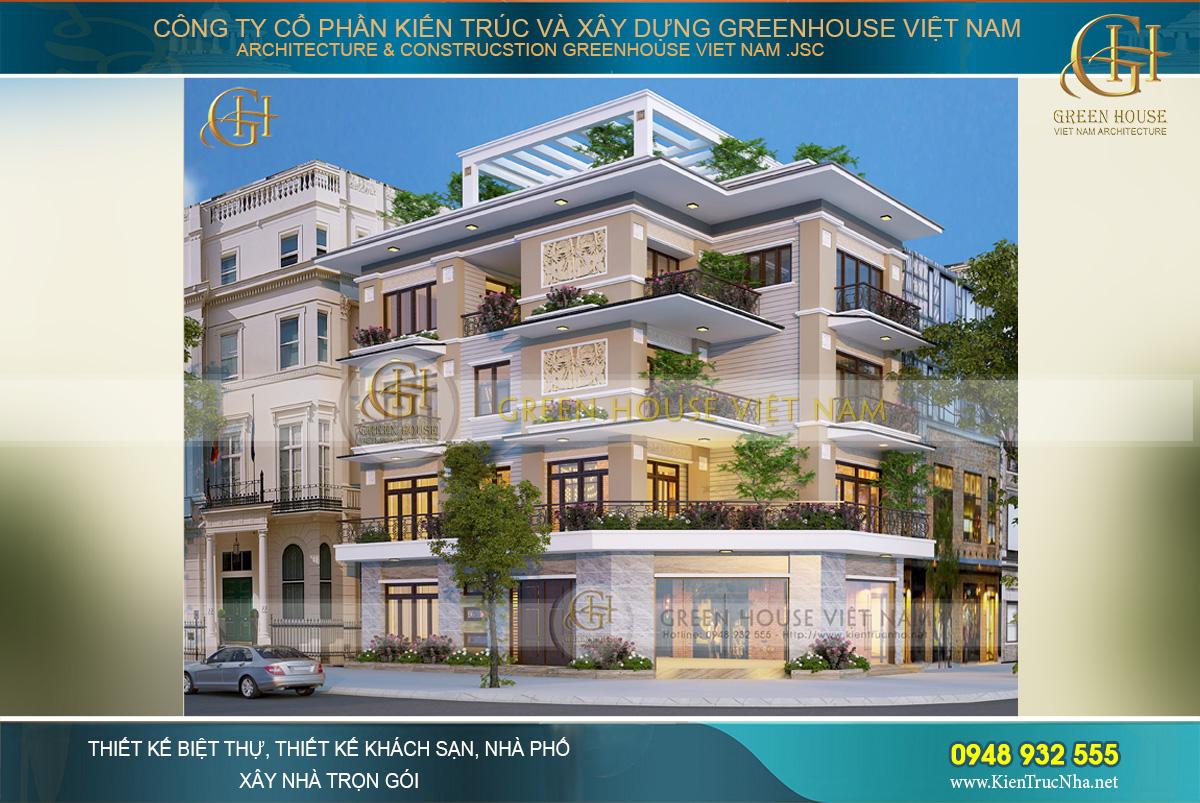 Phối cảnh mặt tiền của nhà phố hiện đại 4 tầng 3 mặt tiền