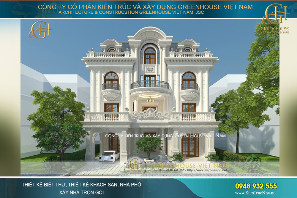 Biệt thự tân cổ điển 3 tầng hiện lên như ốc đảo trắng xinh đẹp, hoàn mỹ giữa không gian phố thị