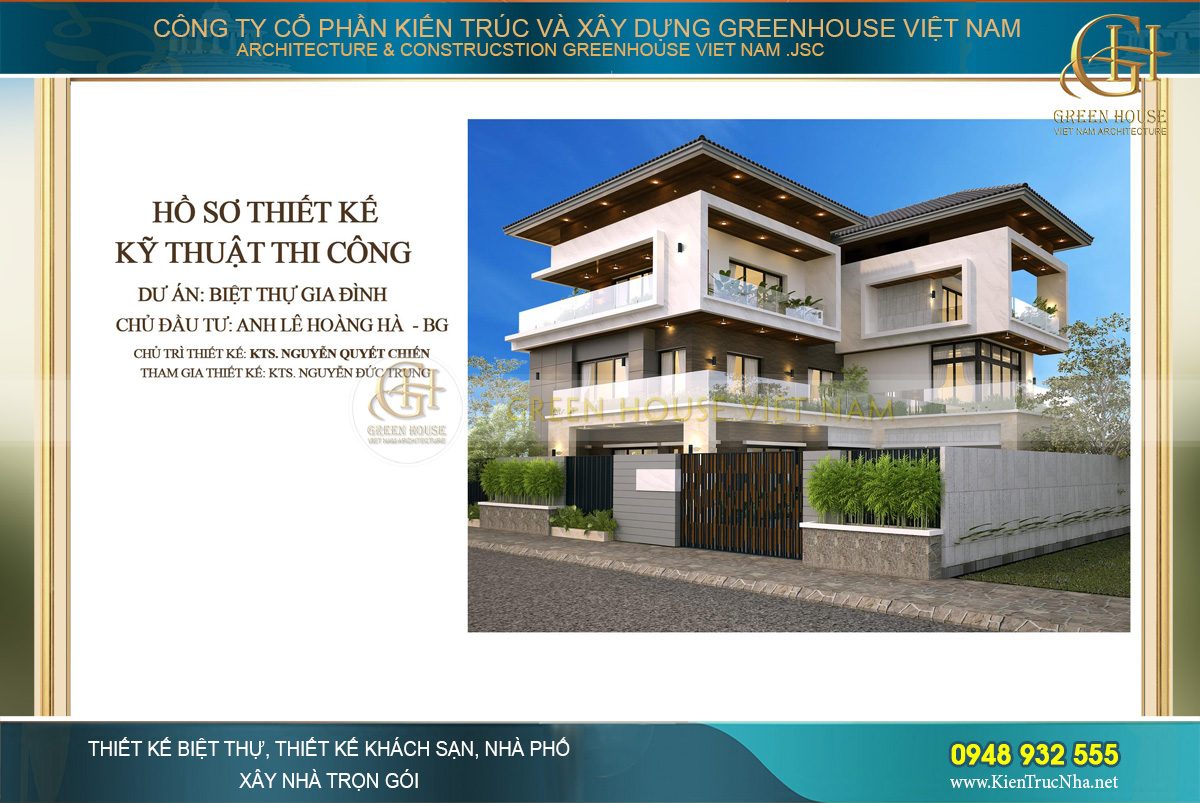 Dự án thiết kế biệt thự hiện đại 3 tầng không gian mở - CĐT Anh Hà
