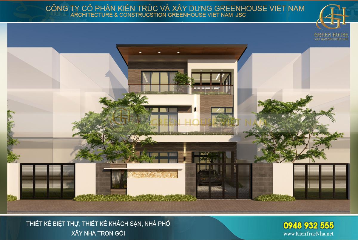 Phối cảnh ngoại thất của biệt thự hiện đại 3 tầng tại Bắc Giang