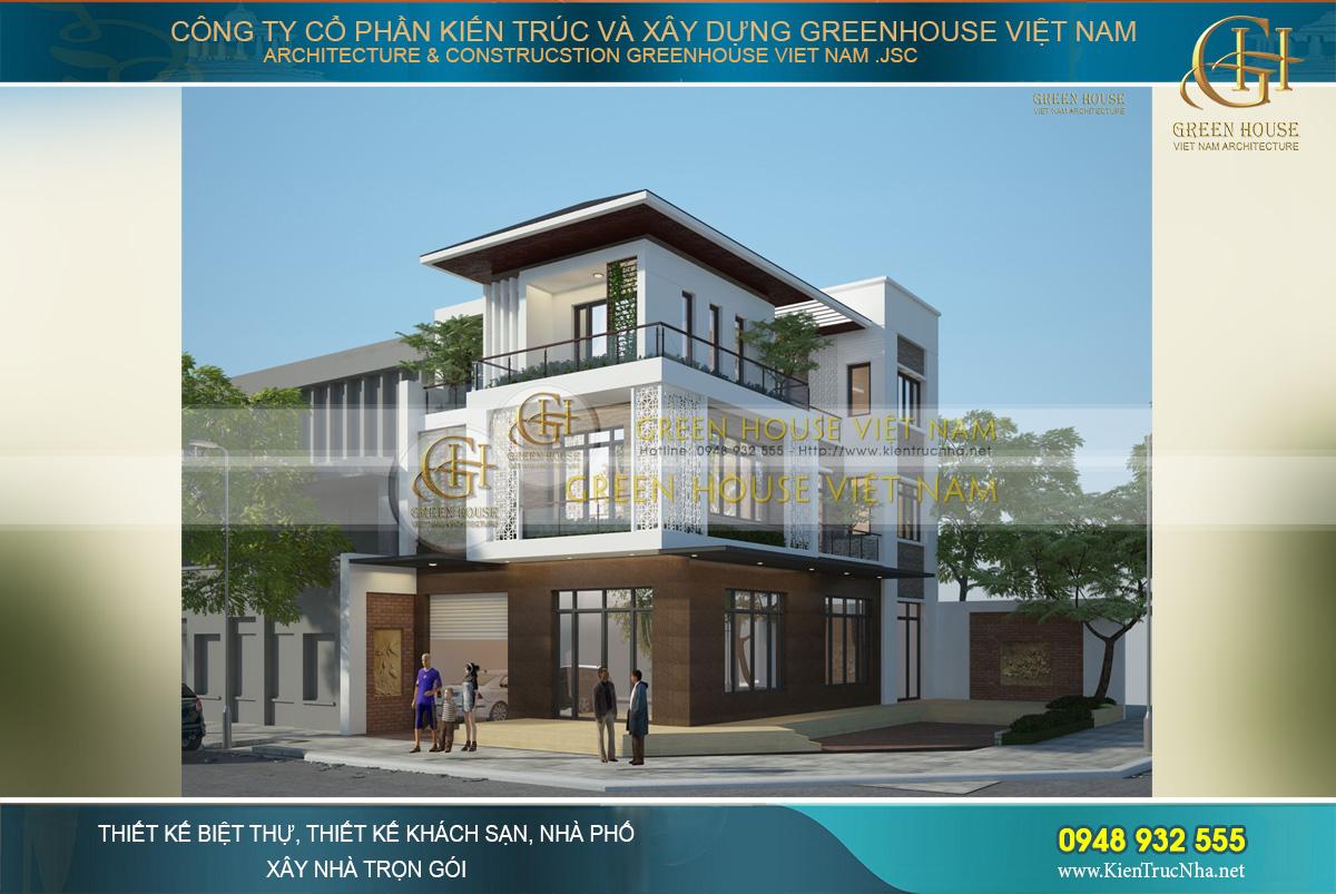 Lợi thế mặt tiền rộng đã giúp các KTS phô diễn được hết vẻ đẹp kiến trúc hoàn mỹ của biệt thự 3 tầng