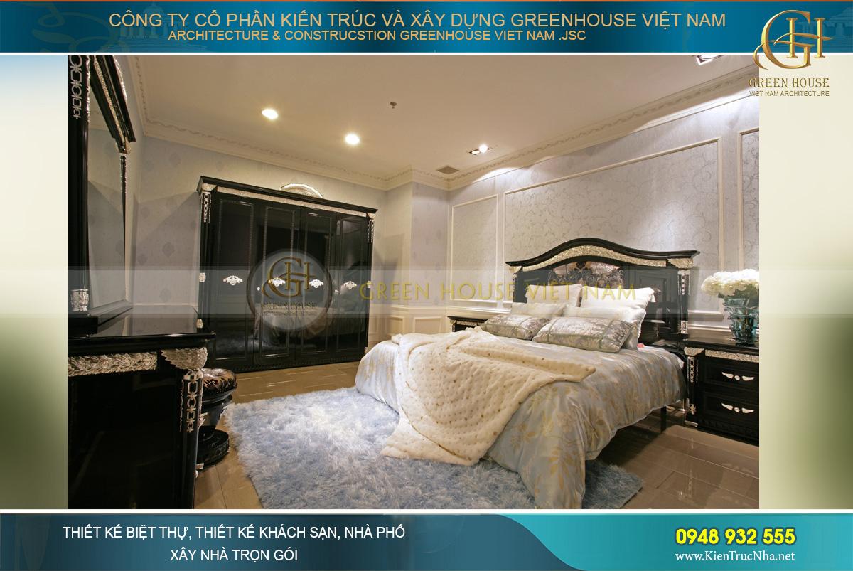 Mẫu thiết kế nội thất phong ngủ chung cư đồng bộ