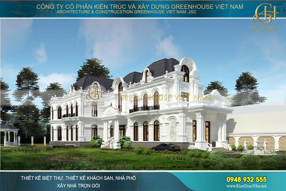 Từng đường nét kiến trúc, họa tiết hoa văn đều thể hiện được một chất cổ điển rất riêng, tạo sự ấn tượng cho công trình biệt thự