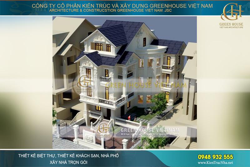 Biệt thự cổ điển 4 tầng tại Hà Nội được thiết kế với hình chữ L, có hầm để xe và sân vườn bao quanh