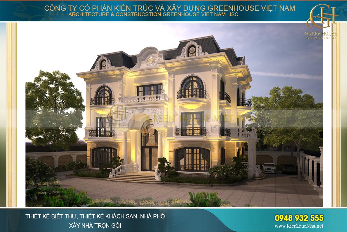 Căn biệt thự 3 tầng trông lộng lẫy, tráng lệ khi sử dụng hệ thống đèn vàng trang trí
