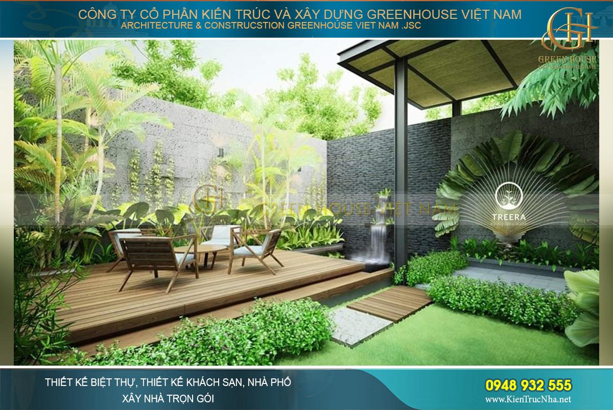 Mẫu phòng khách sân vườn mang đến không gian xanh