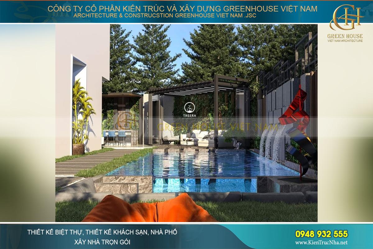 Mẫu phòng khách được thiết kế sang trọng bên cạnh hồ bơi