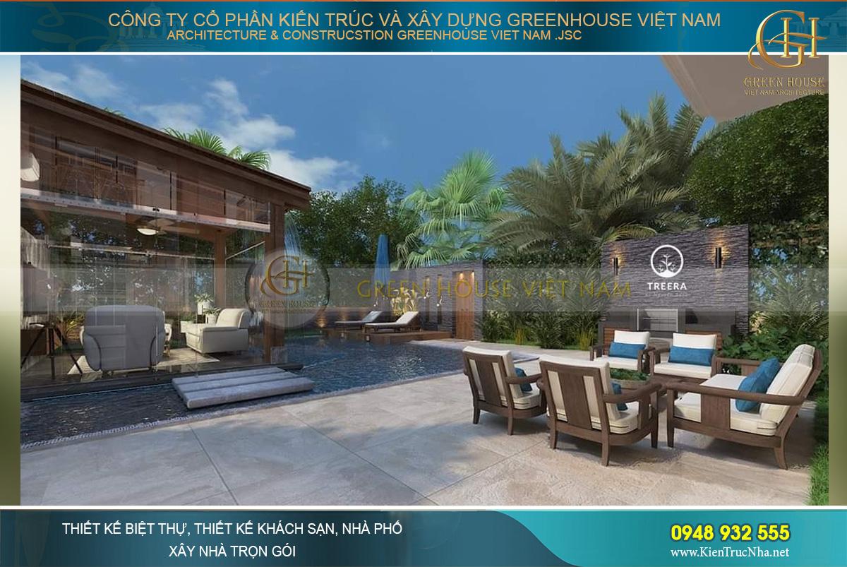 Mẫu phòng khách được thiết kế ở giữa không gian thiên nhiên chắc chắn sẽ làm hài lòng khách hàng
