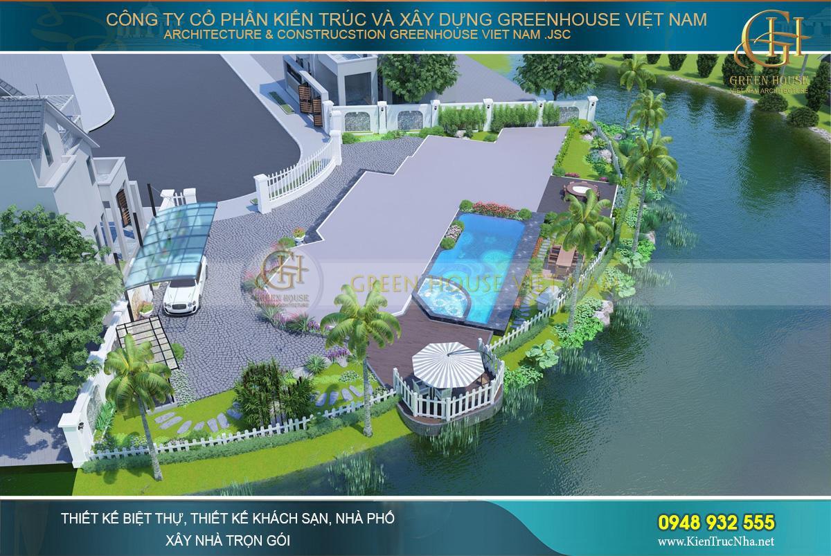 Toàn cảnh thiết kế biệt thự và sân vườn bao quanh