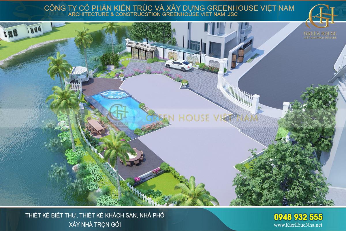 Sân vườn được thiết kế bao quanh biệt thự với nhiều khu vực phân chia rõ ràng nhưng vẫn kết hợp hài hòa với nhau