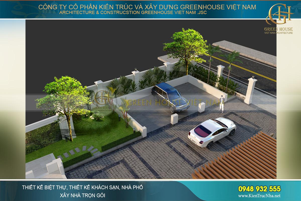 Thiết kế khu vực gara để xe rộng rãi với lối đi lớn dễ dàng di chuyển, quay xe