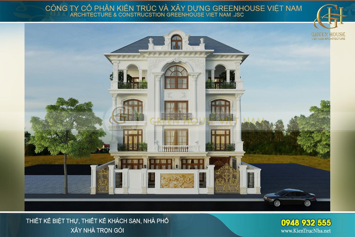 Phối cảnh mặt tiền biệt thự tân cổ điển 4 tầng tại Bắc Giang