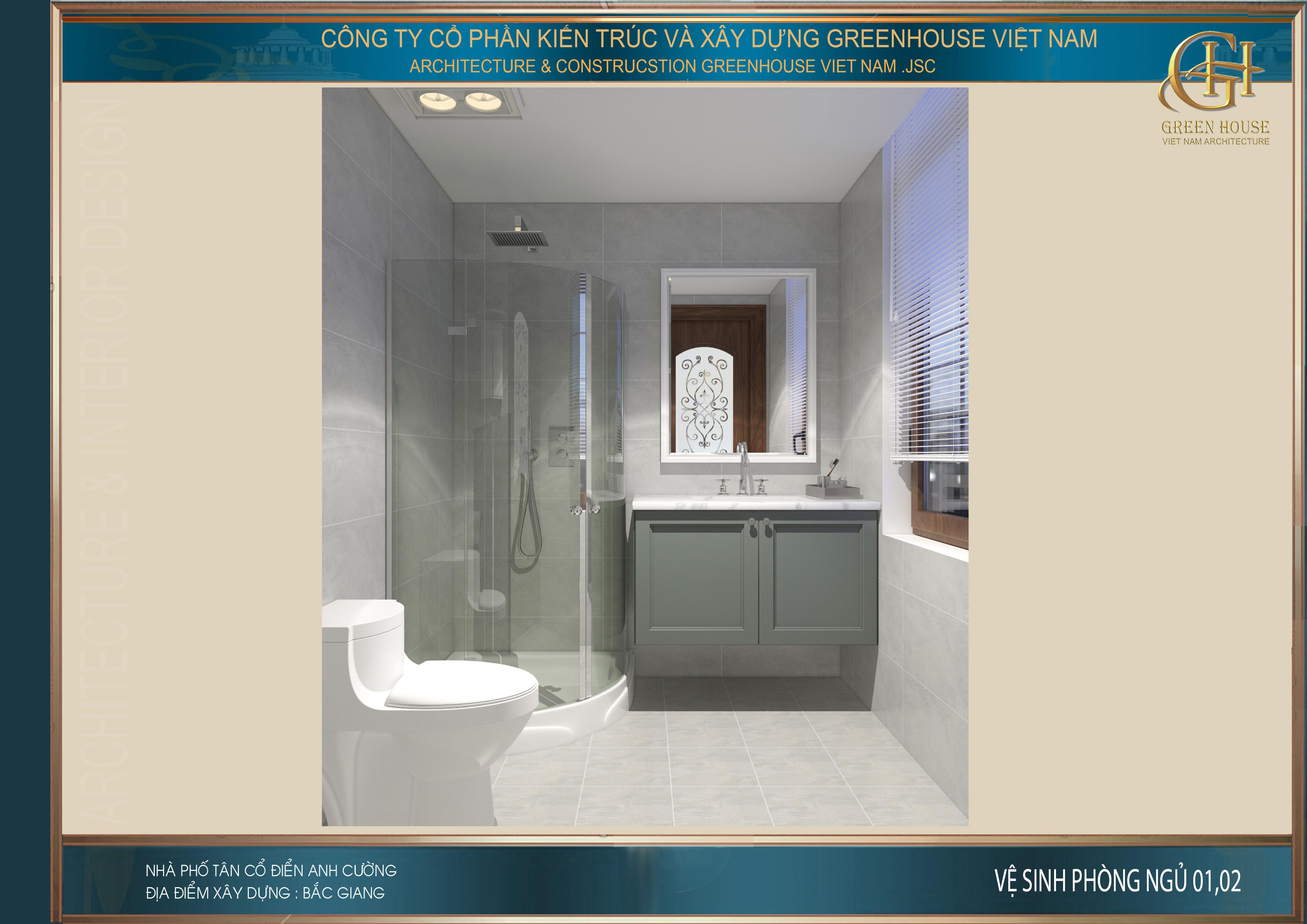 Thiết kế phòng vệ sinh riêng cho phòng ngủ tại tầng 1