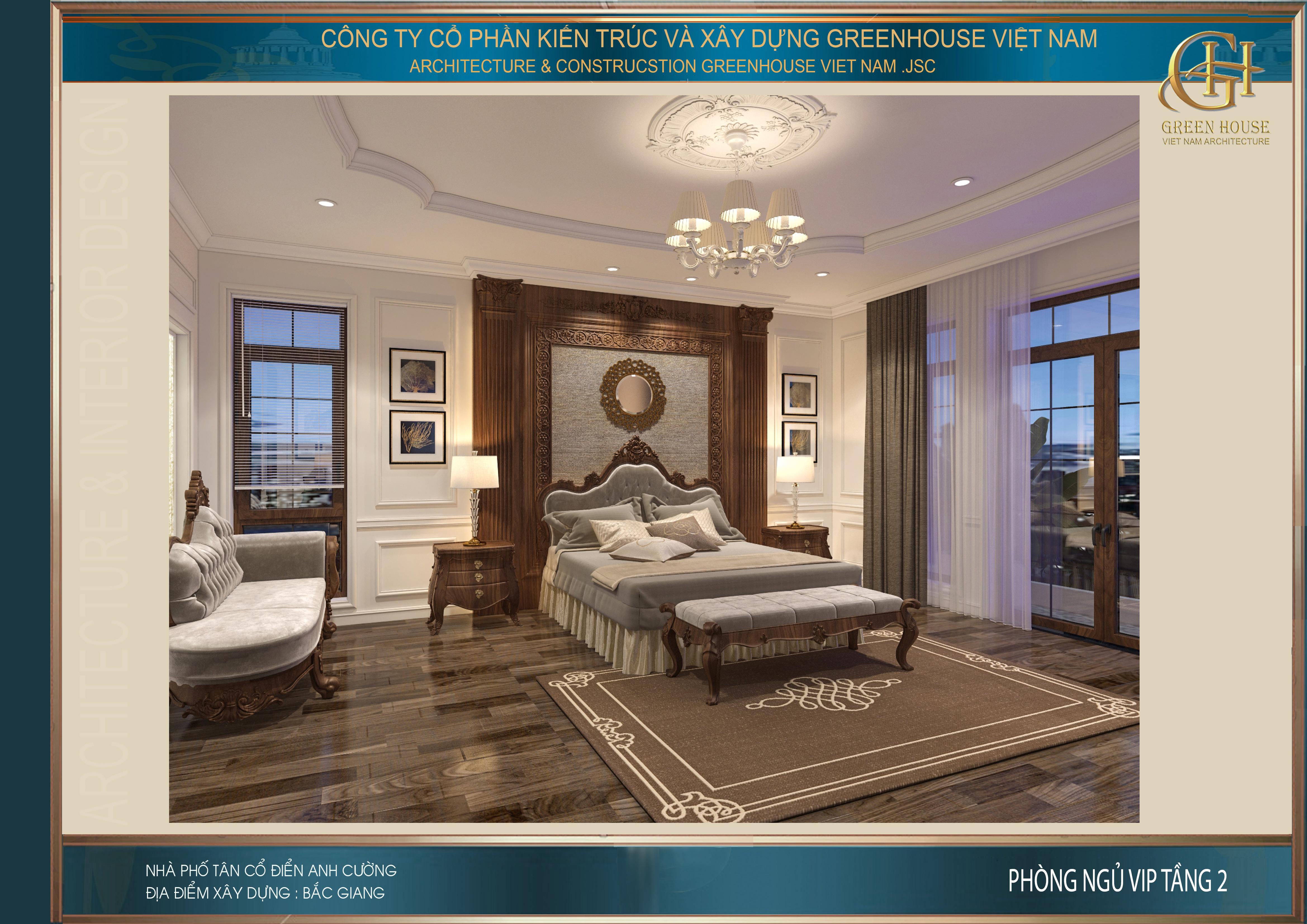 Phòng ngủ master tầng 2 rộng 34m2 nên có thể bố trí nhiều đồ nội thất cao cấp