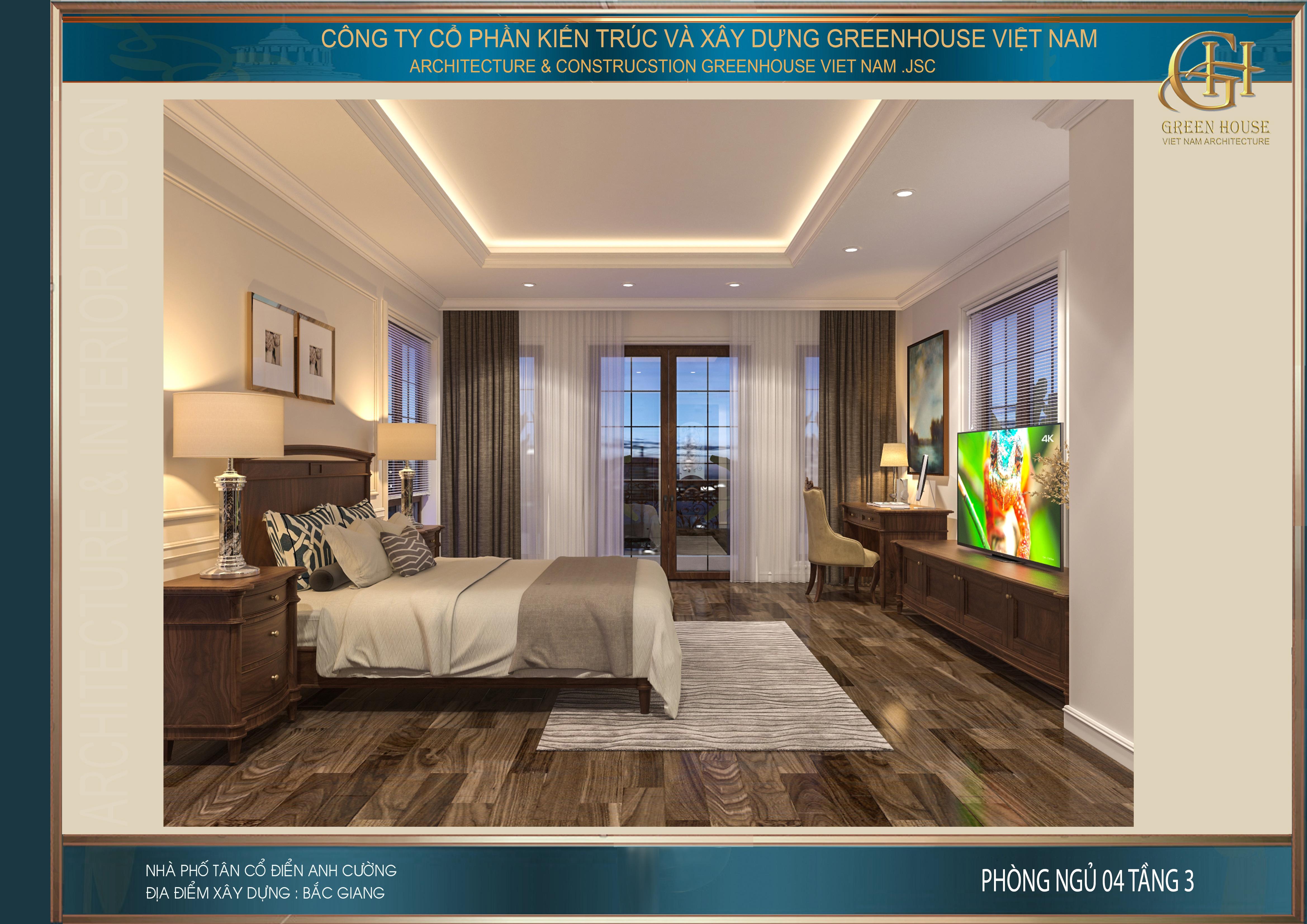 Phòng ngủ trên tầng 3 có thiết kế tương đồng với phòng ngủ tại tầng 1 và tầng 2