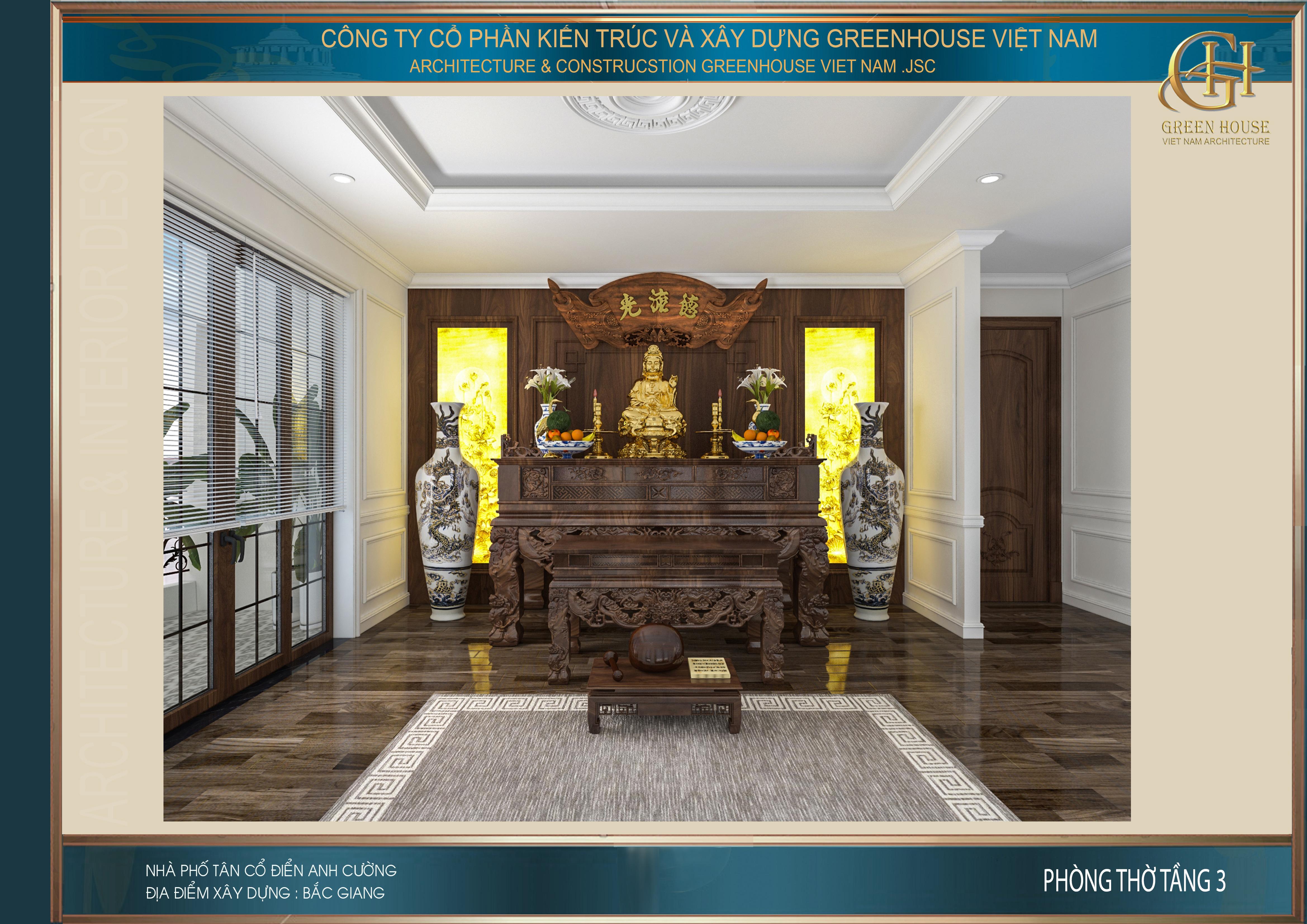 Thiết kế nội thất phòng thờ của biệt thự tân cổ điển tại Bắc Giang