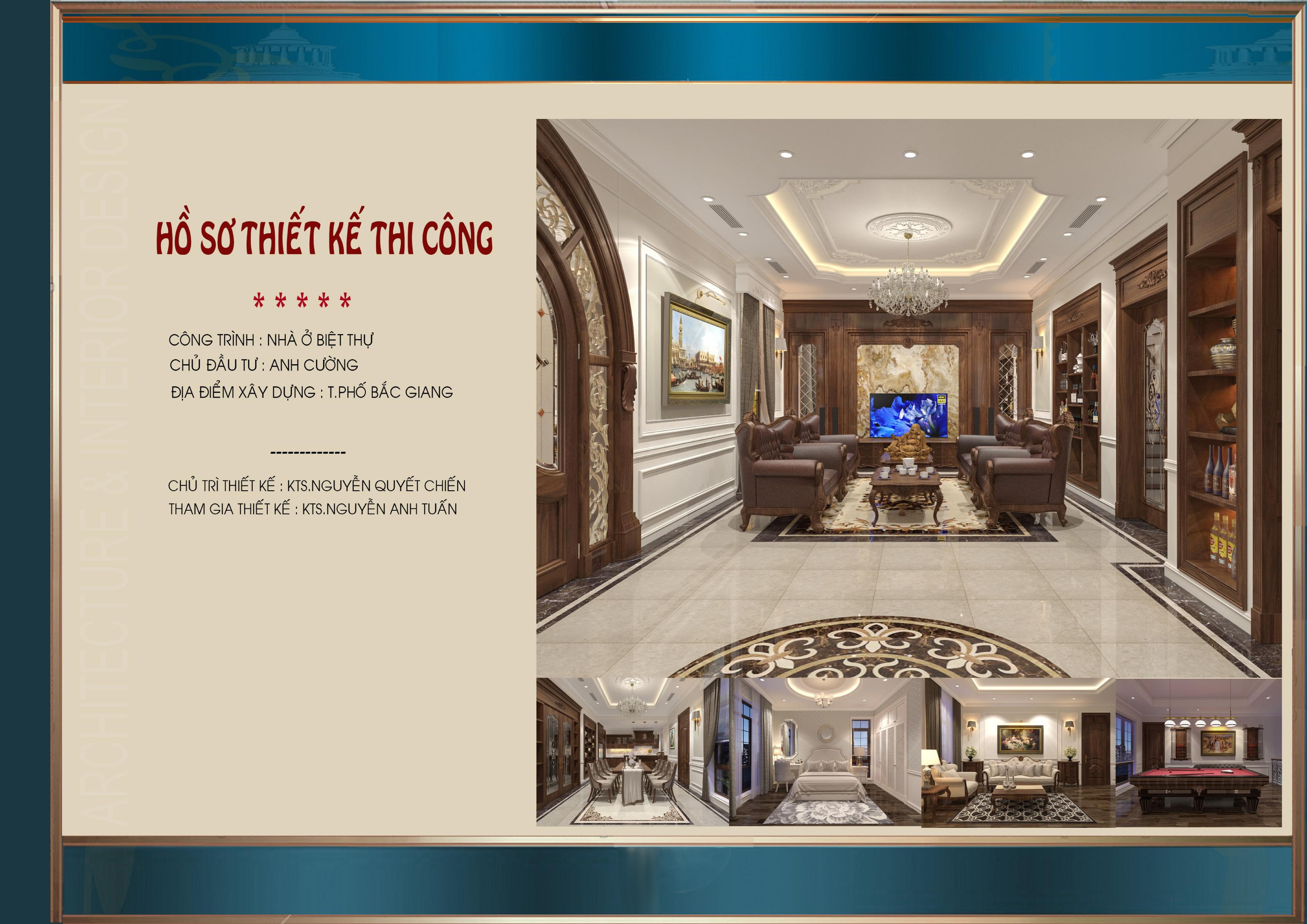 Mẫu thiết kế nội thất biệt thự tân cổ điển 3 tầng - CĐT Anh Cường