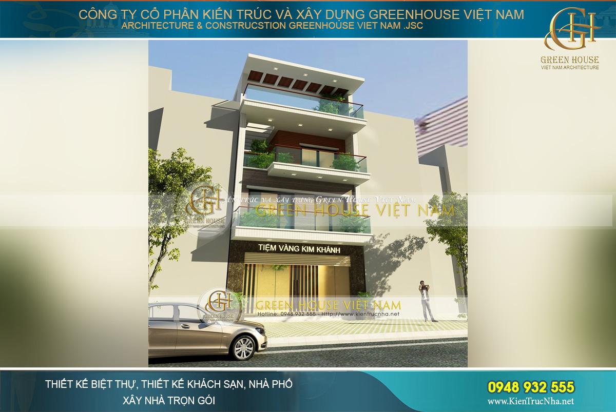 Mặt bằng ngoại thất kiến trúc hiện đại, sang trọng của công trình nhà phố 4 tầng kết hợp kinh doanh tại Bắc Giang