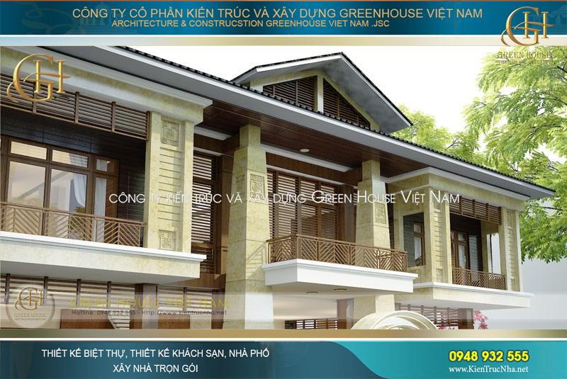 Tầng 2 của biệt thự Á Đông được thiết kế với các ban công lớn, tạo sự thông thoáng