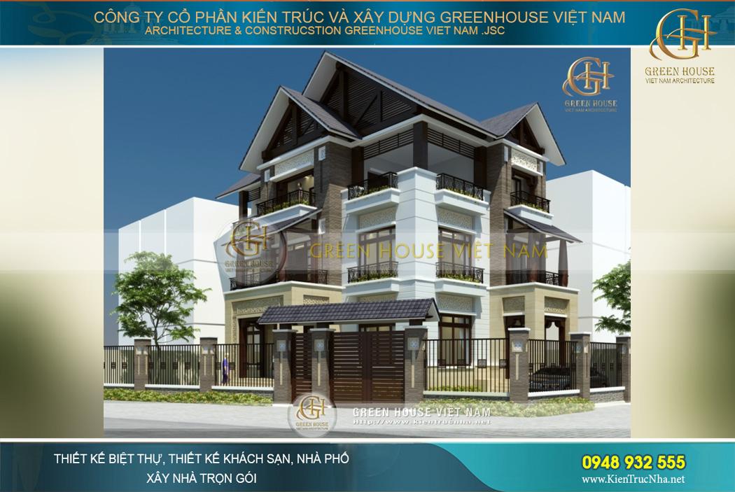 Biệt thự Á Đông 2 mặt tiền tại Hà Nội được bao bọc bởi hệ thống tường rào vững chắc, an toàn