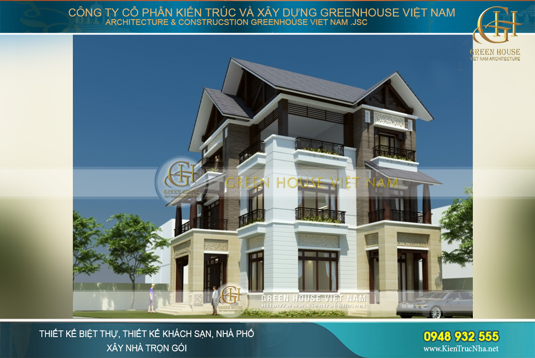 Mặt hông của biệt thự hiện đại cũng được chú trọng thiết kế với tiểu sảnh và ban công lớn