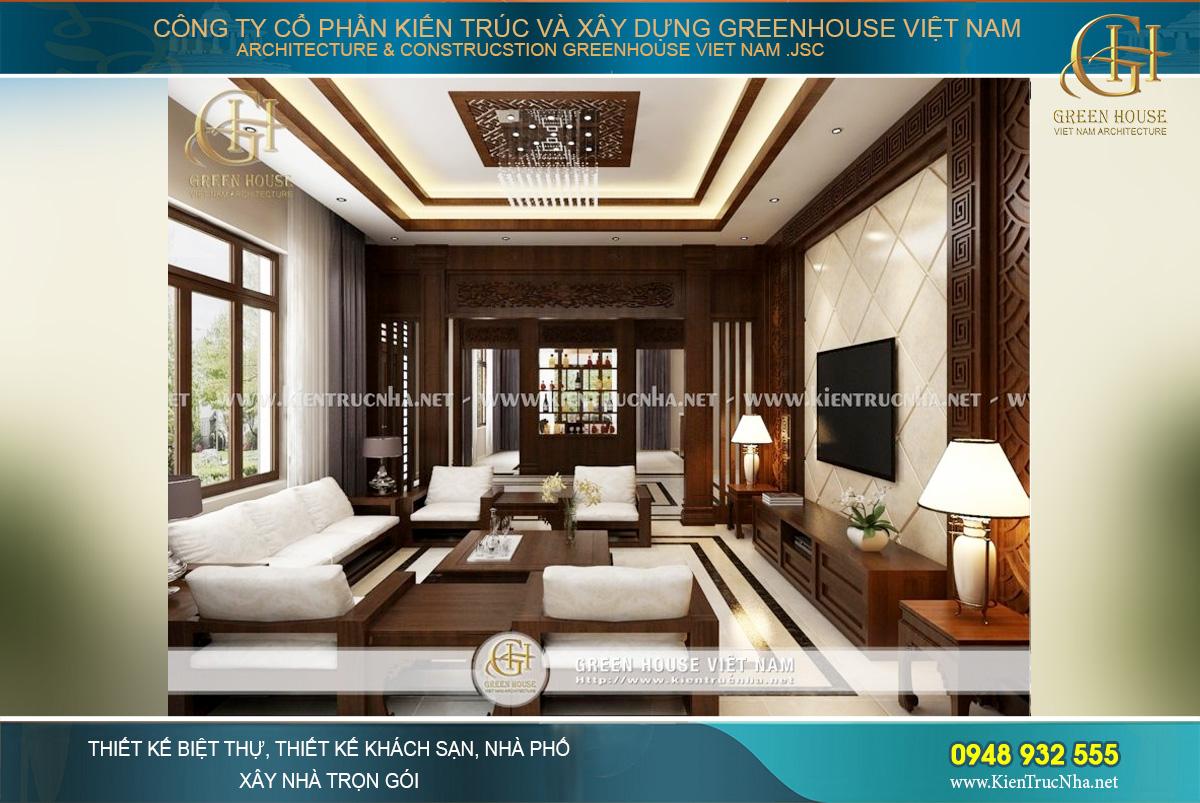 Không gian phòng khách với nội thất gỗ mang đậm phong cách Á Đông truyền thống