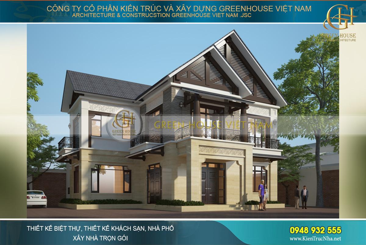 Phối cảnh kiến trúc ngoại thất của biệt thự Á Đông 2 tầng tại Bắc Giang