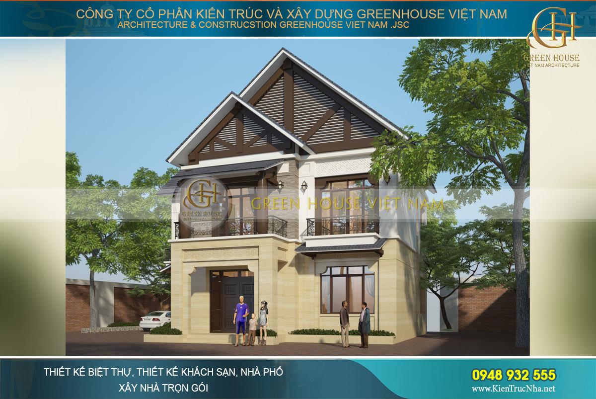 Biệt thự 2 tầng phong cách Á Đông hiện lên với vẻ đẹp bề thế, đẳng cấp và nổi bật