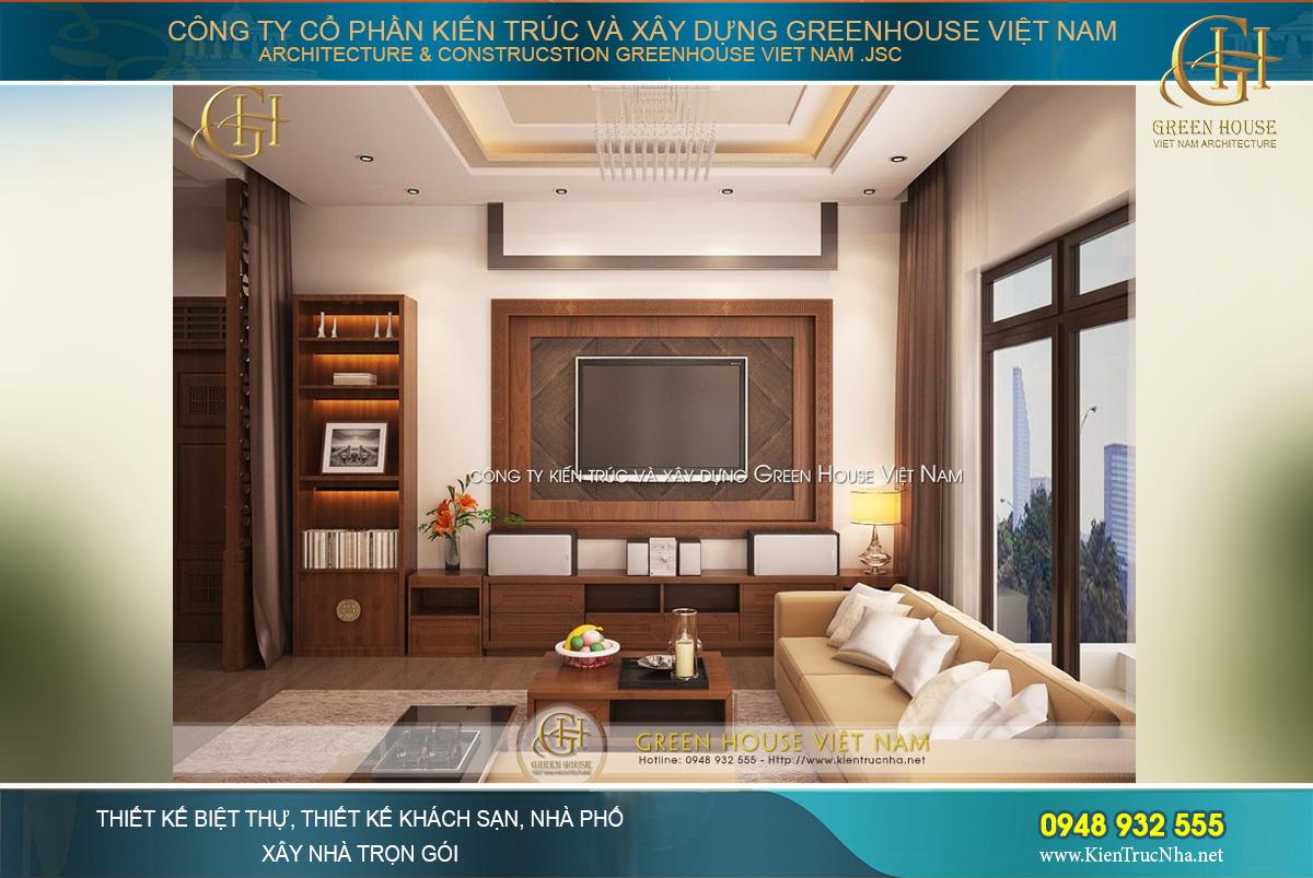 Thiết kế nội thất với chất liệu gỗ cùng những gam màu trầm ấm làm chủ đạo