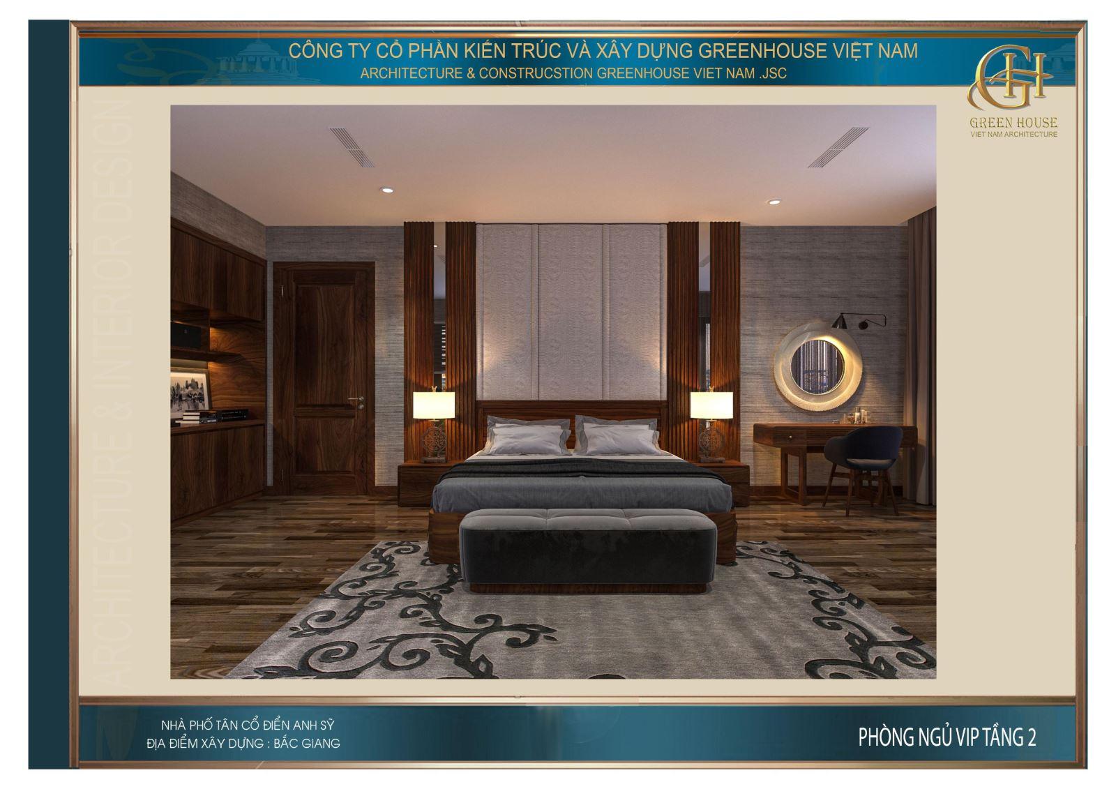 Không gian nội thất phòng ngủ đẳng cấp của biệt thự hiện đại 3 tầng
