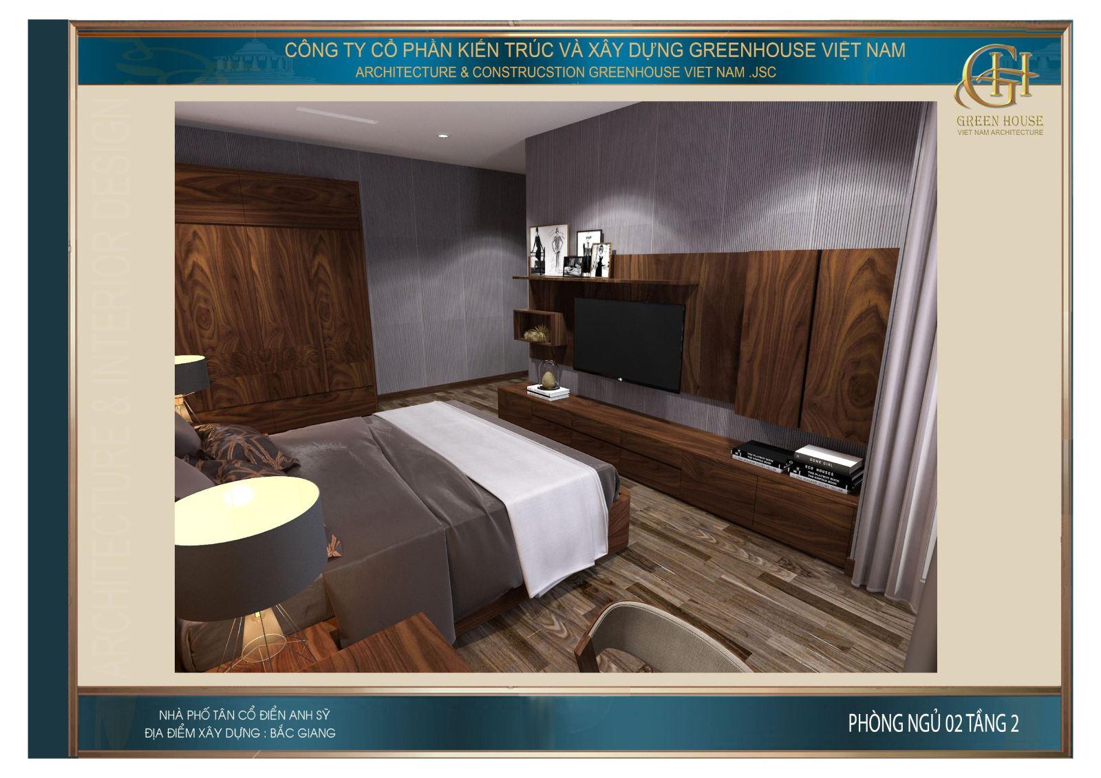 Đối diện với giường ngủ là kệ TV treo tường