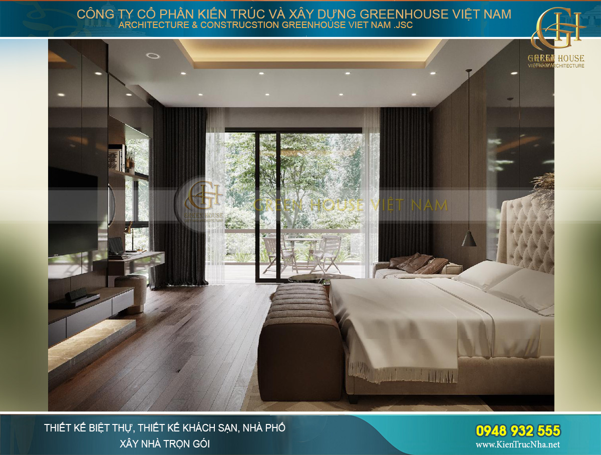 Phòng ngủ nối liền với hiên lớn phía ngoài để uống trà, ngắm cảnh