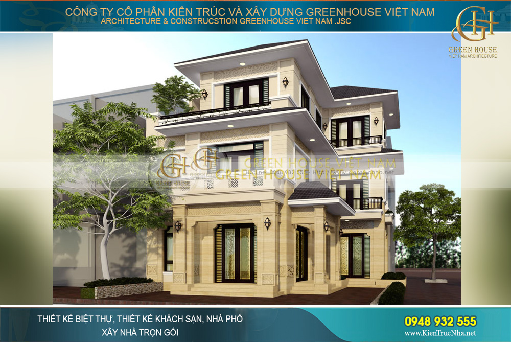 Phối cảnh mặt tiền của biệt thự hiện đại 3 tầng lầu của gia đình chị Huệ tại Hà Nội