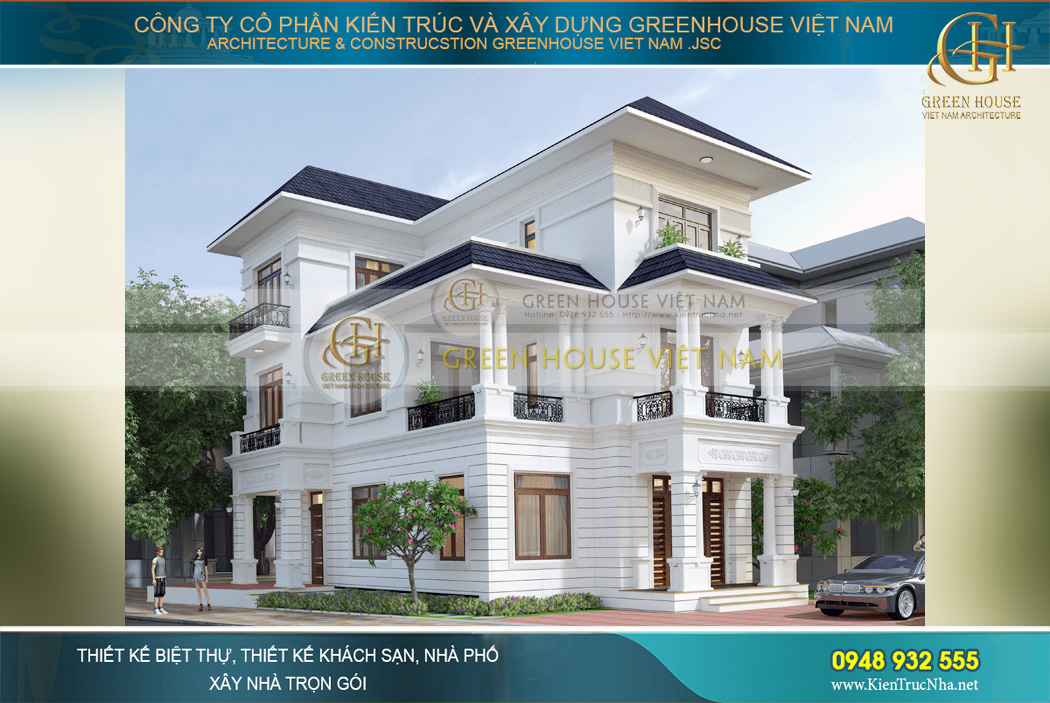 Phối cảnh mặt tiền biệt thự tân cổ điển 3 tầng 7 phòng ngủ tại Hà Nội