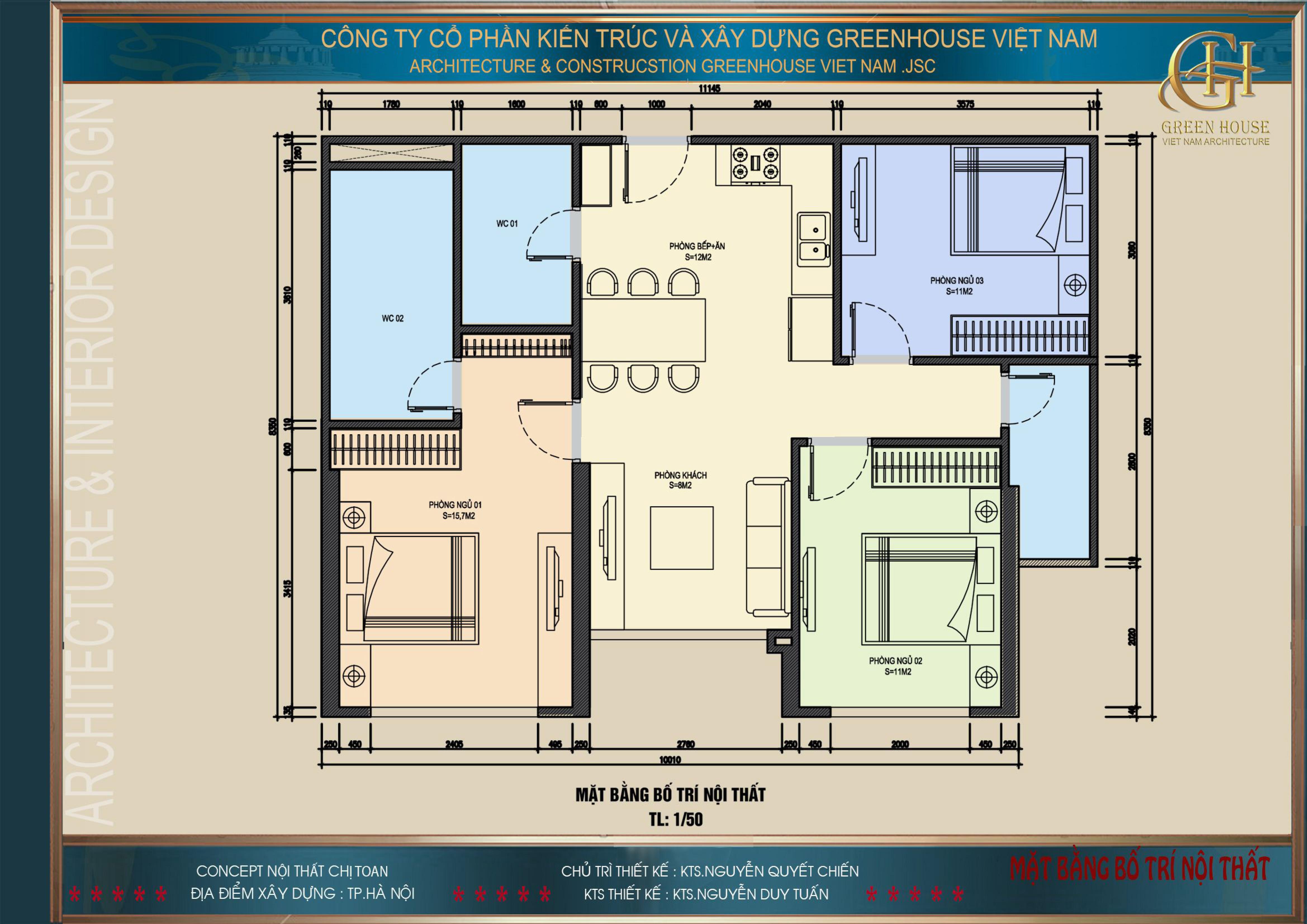 Bản vẽ mặt bằng công năng sử dụng của căn hộ chung cư chị Toan