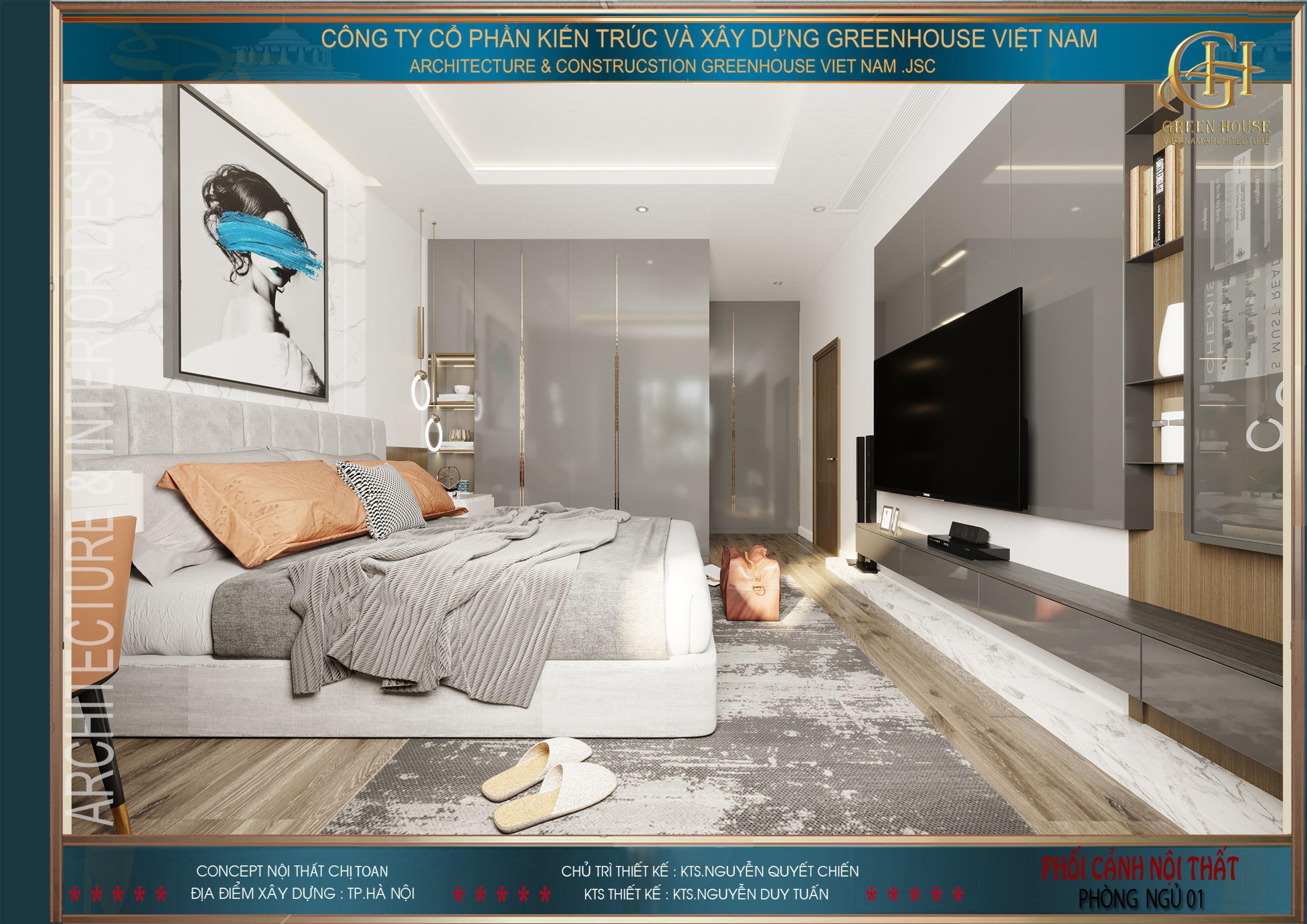 Bố trí nội thất phòng ngủ master một cách khéo léo mang đến sự rộng rãi, thông thoáng