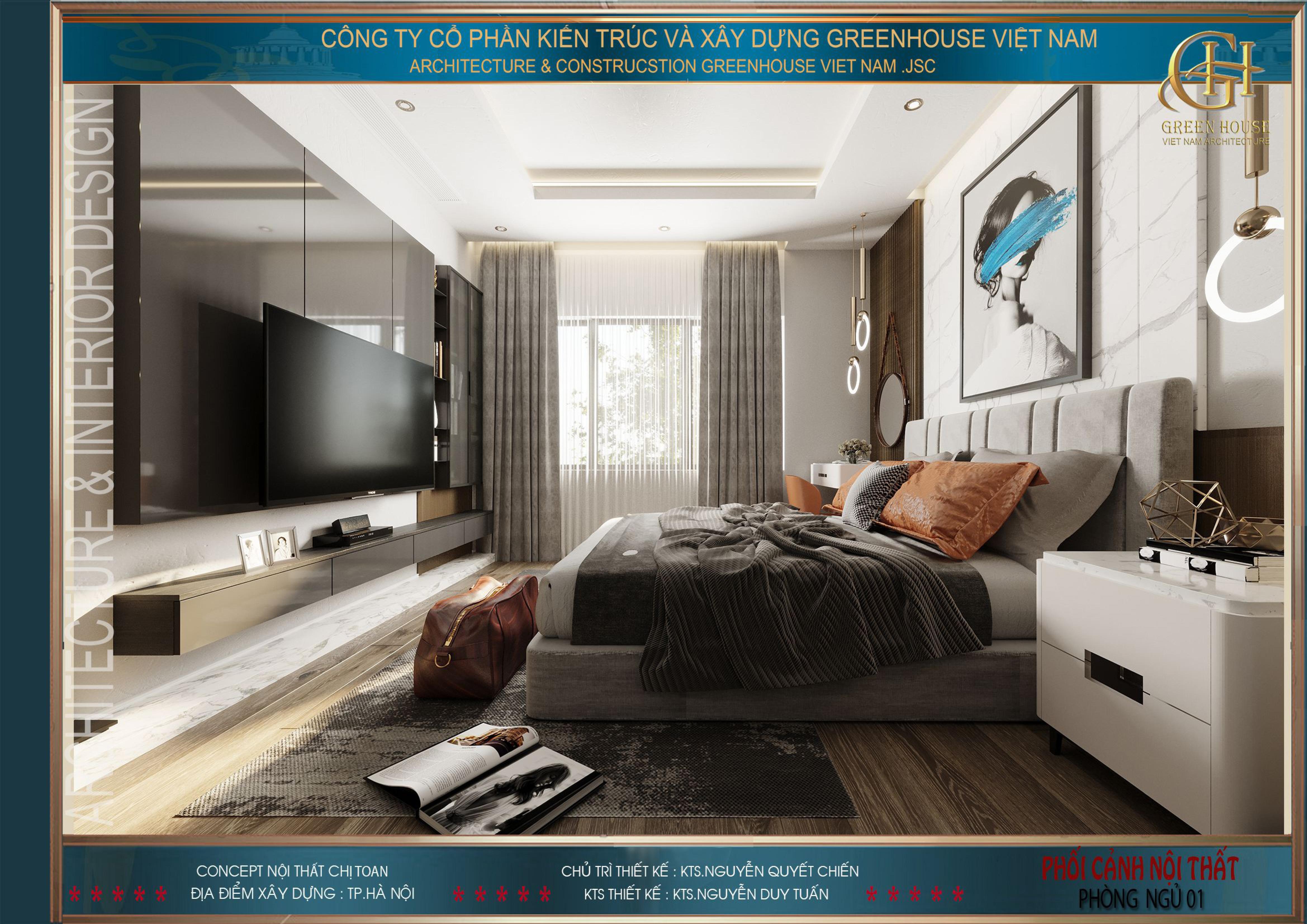 Toàn cảnh nội thất của phòng ngủ chính
