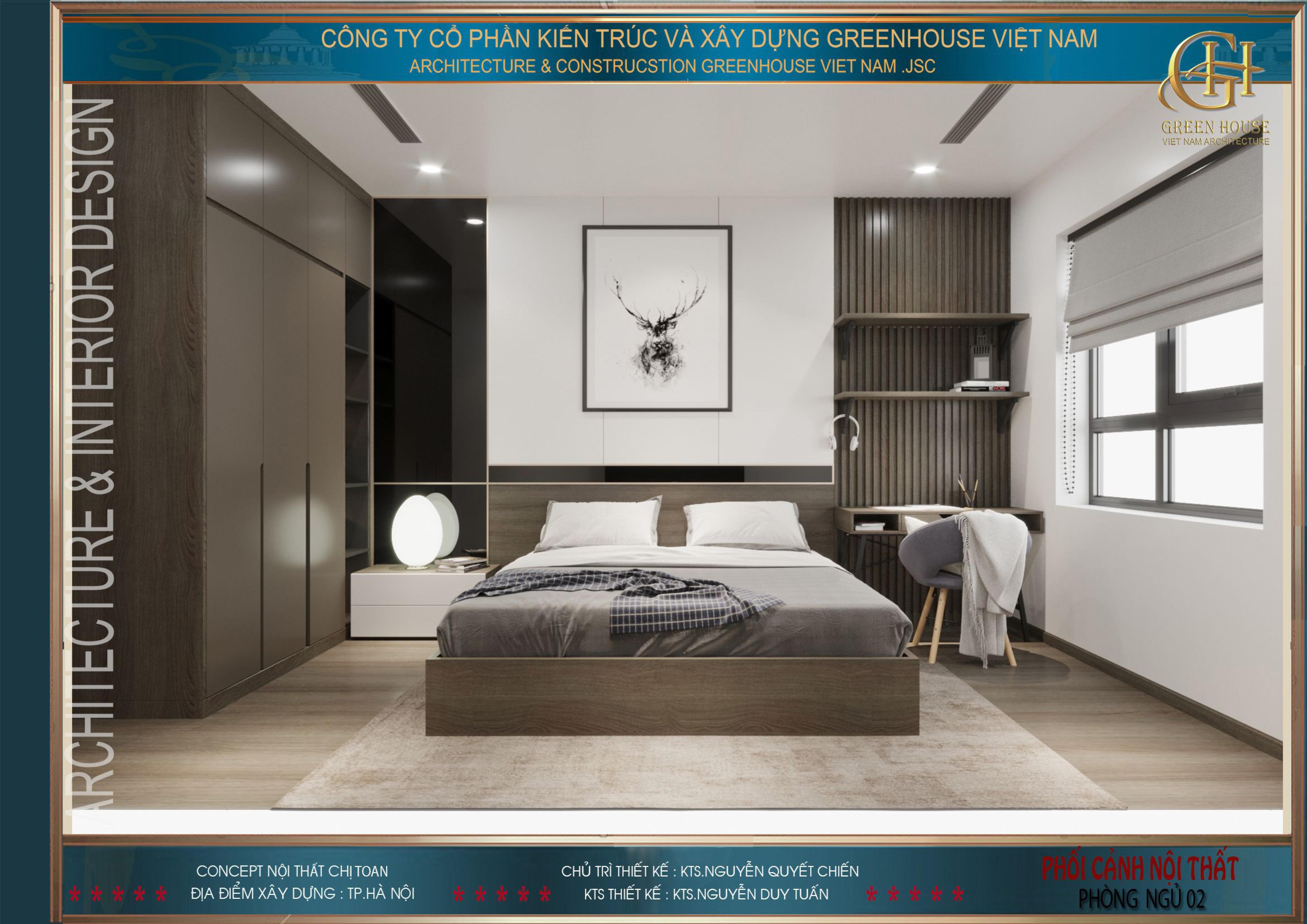 Phòng ngủ số 2 không sử dụng quá nhiều màu sắc nhưng vẫn toát lên vẻ sang trọng