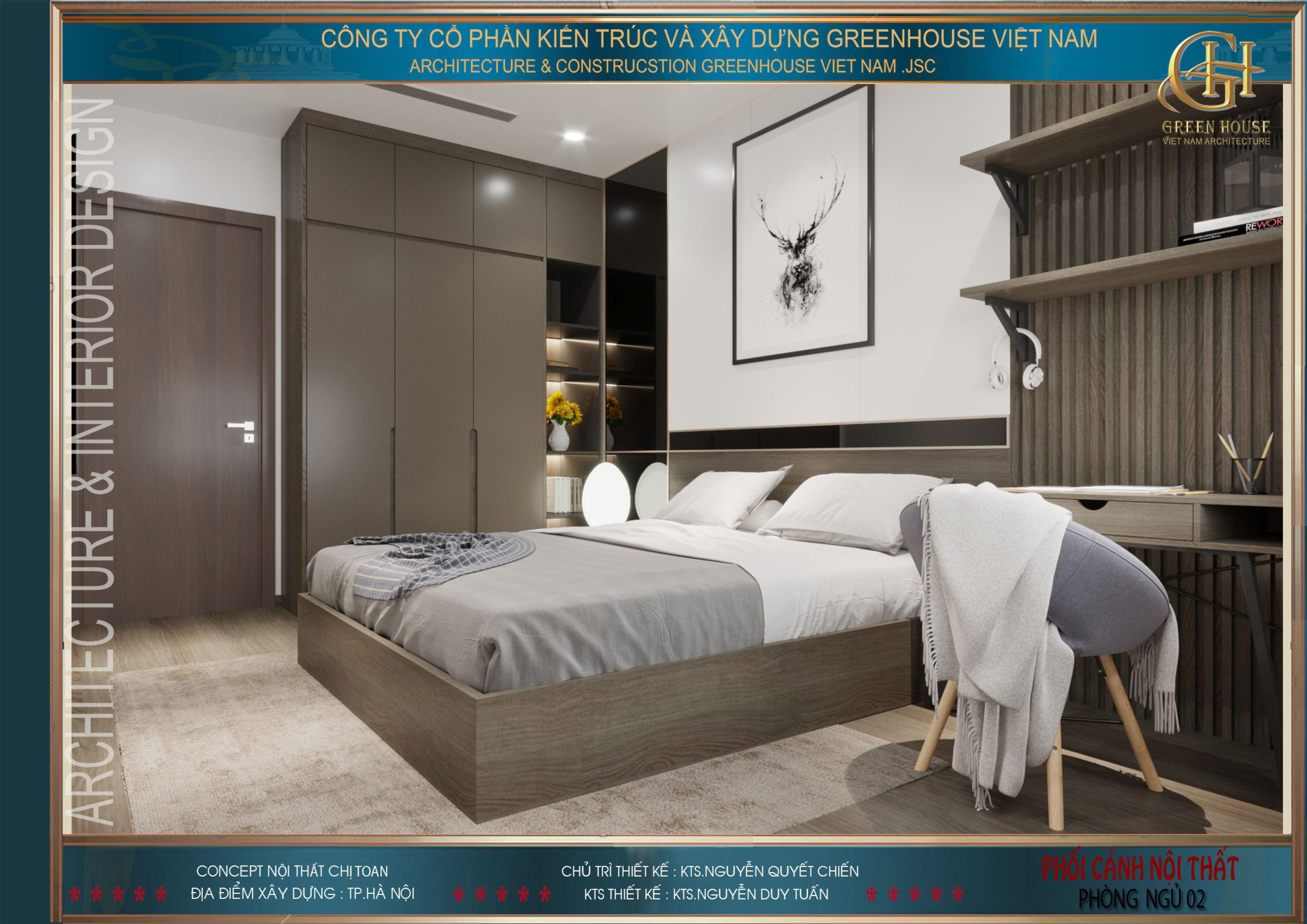 Phòng ngủ với những đường nét mạnh mẽ, dứt khoát và nam tính hơn