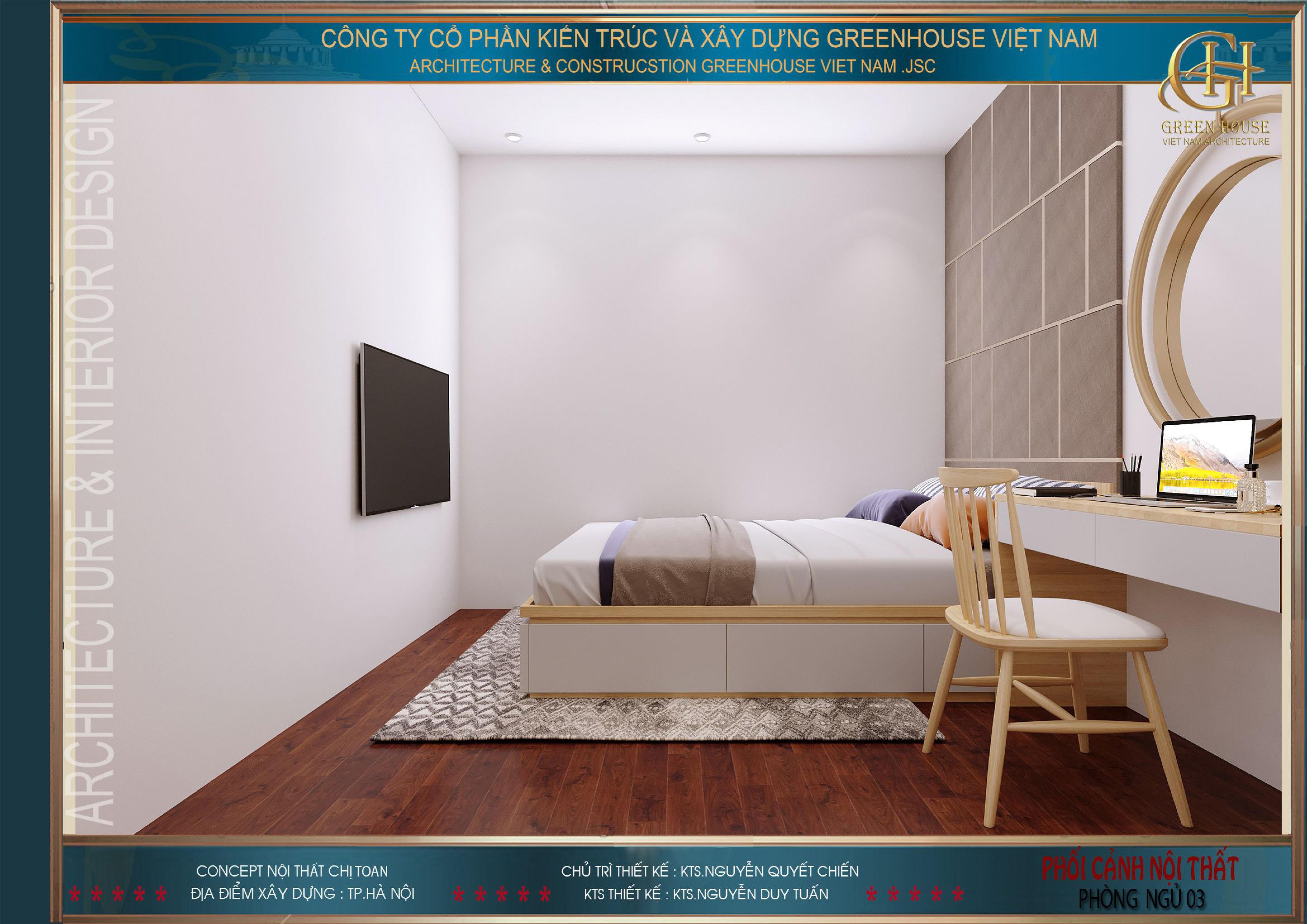 Phòng ngủ số 3 cũng được thiết kế với những đồ nội thất cơ bản