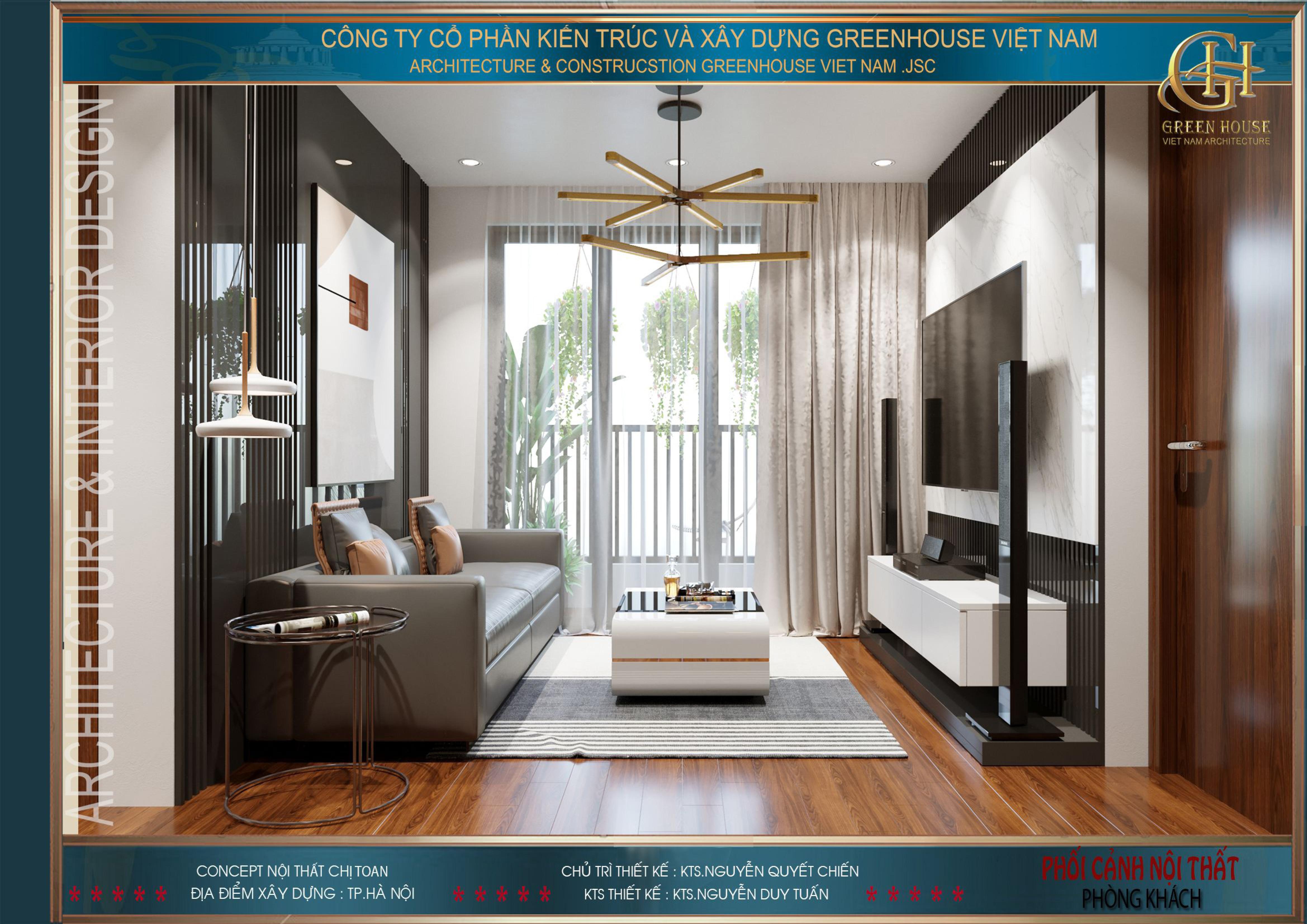 Phòng khách của chung cư được thiết kế một cách khéo léo tinh tế