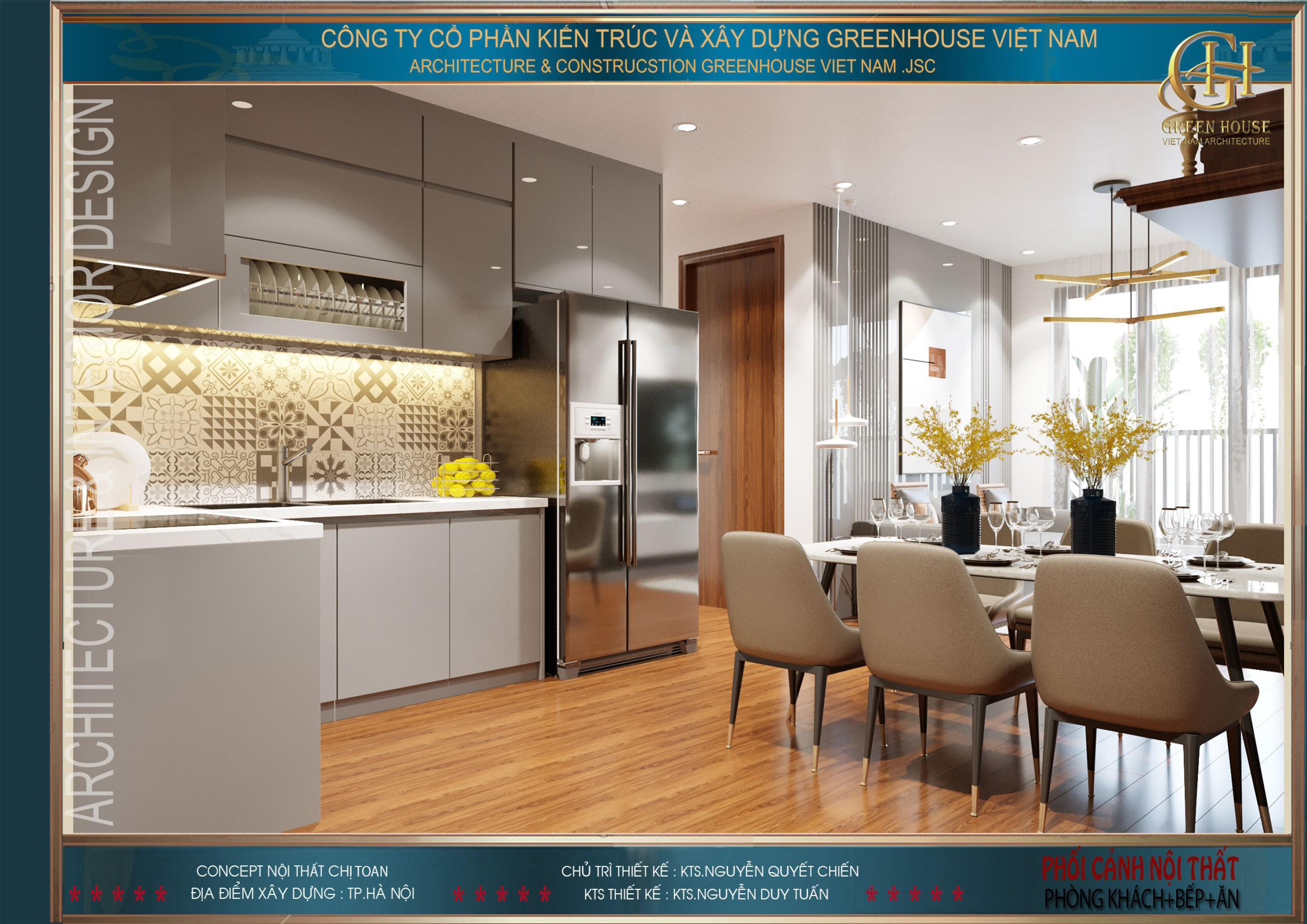 Phòng bếp được thiết kế đồ nội thất hiện đại, sang trọng