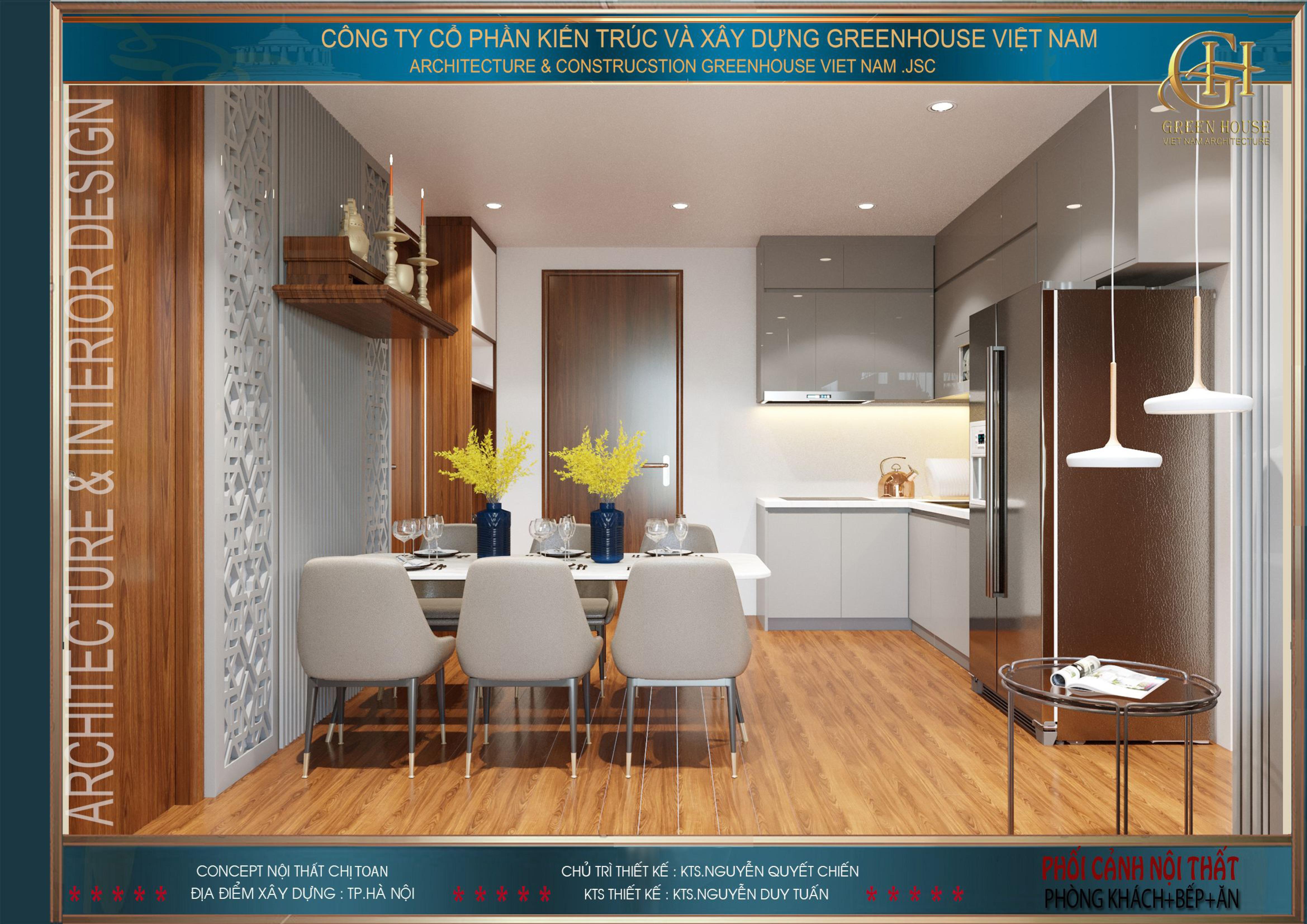 Nội thất phòng bếp và phòng ăn được thiết kế khoa học, gọn gàng