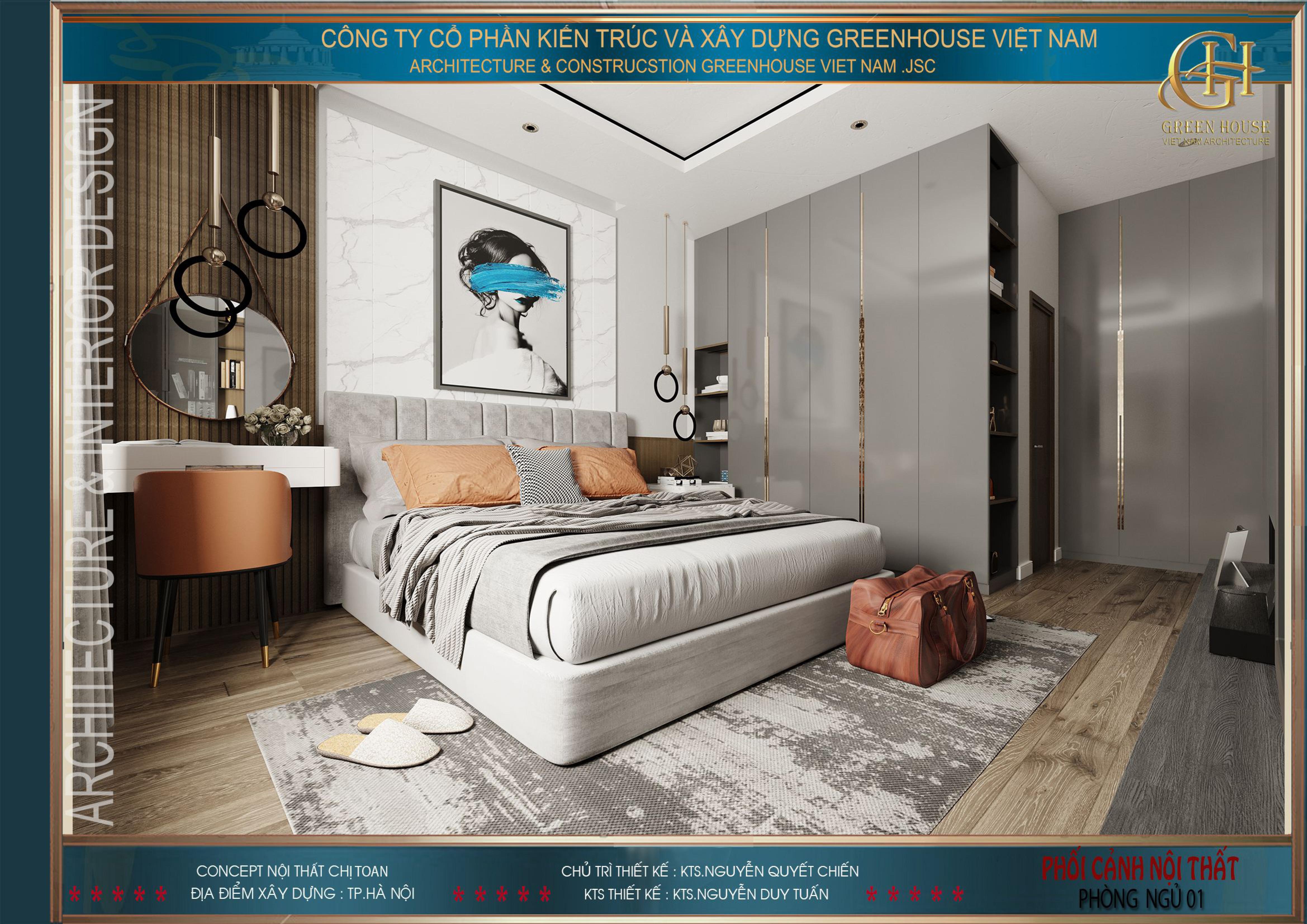 Thiết kế nội thất phòng ngủ master cho căn hộ chung cư tại Hà Nội