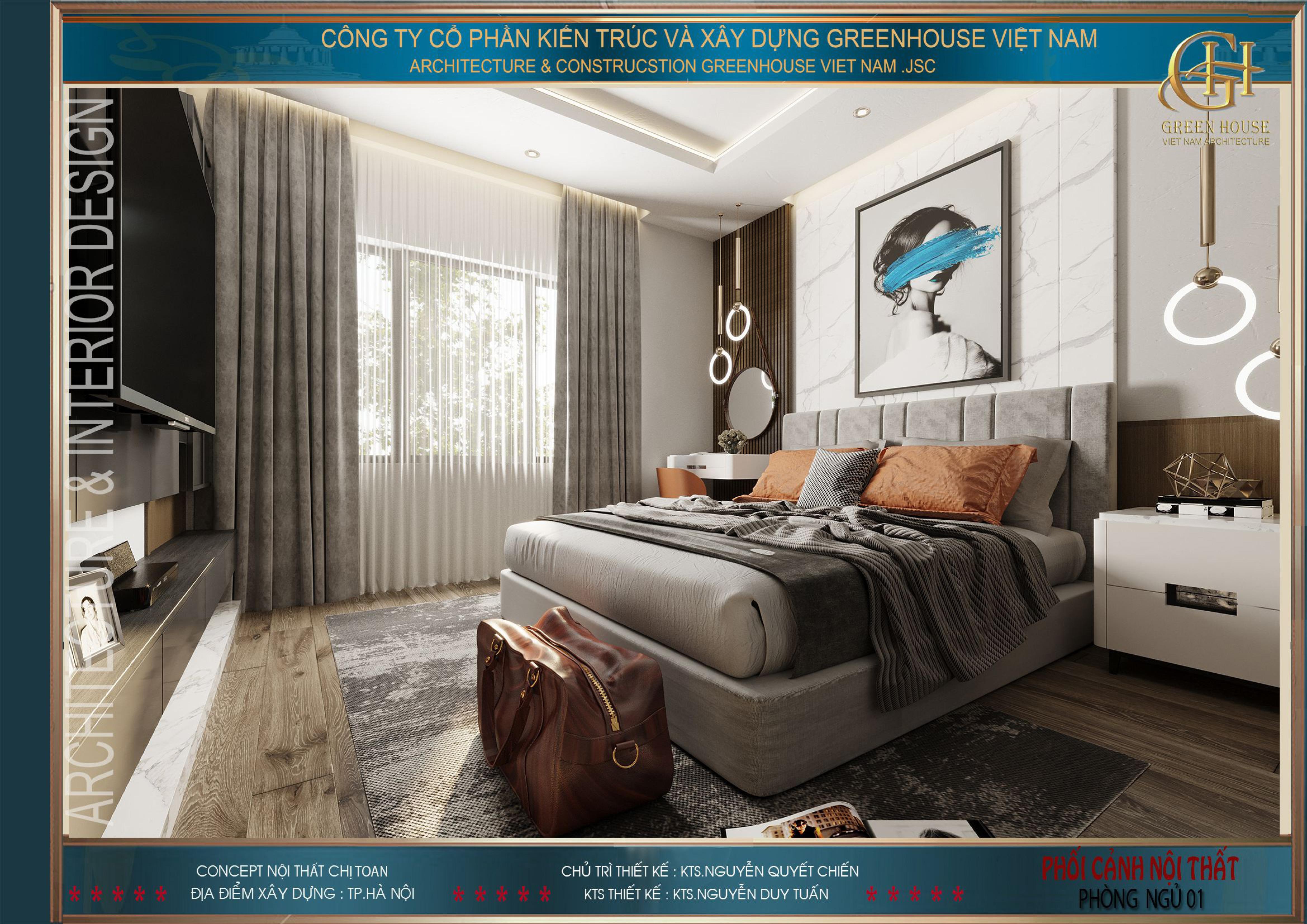 Căn phòng thiết kế với màu xám chủ đạo mang đến vẻ đẹp sang trọng