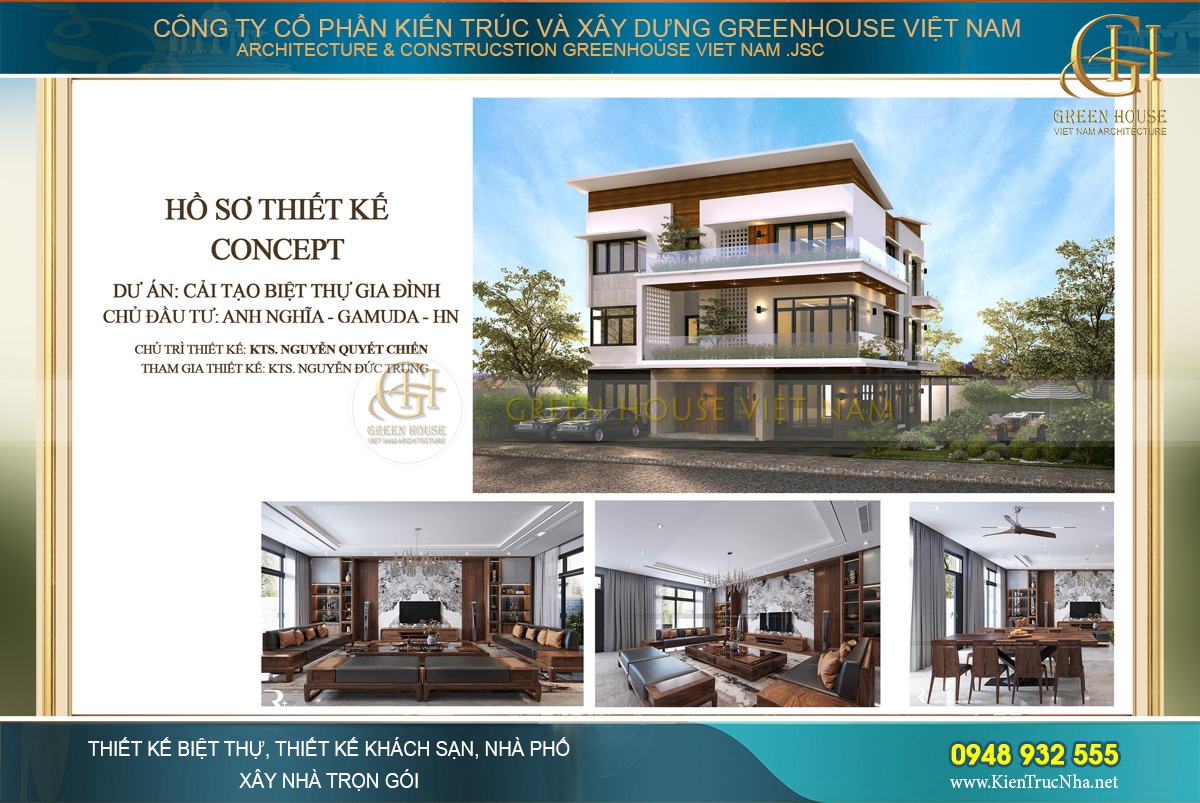 Dự án cải tạo biệt thự hiện đại 3 tầng tại Gamuda – Hà Nội