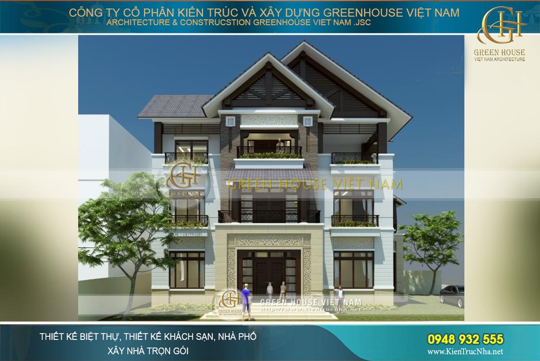 Phối cảnh mặt tiền của biệt thự hiện đại phong cách Á Đông tại Hà Nội