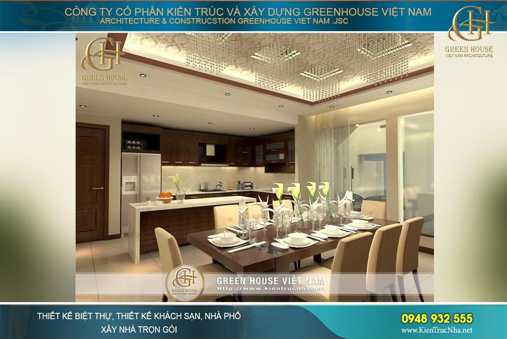 Thiết kế tiện nghi và ấm cúng của nhà bếp cùng bàn ăn chất lượng cao