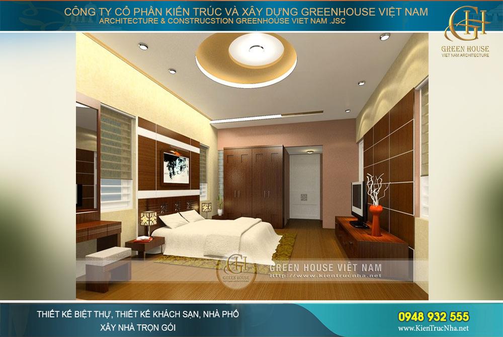 Màu sắc trang nhã, thiết kế nhẹ nhàng, đúng như ý muốn của gia chủ về mẫu phòng ngủ dành cho bố mẹ