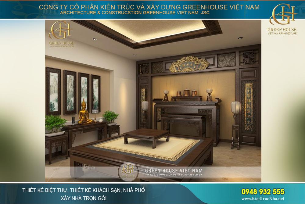 Bàn thờ và phản ngồi được gia chủ yêu cầu thiết kế riêng để đảm bảo chất lượng khi sử dụng